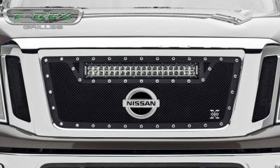 """T-REX Grilles - 2016-2019 Titan Torch Grille, Black, 3 Pc, Insert, Chrome Studs with (1) 20"""" LED, Fits Vehicles with Camera - PN #6317851 - Image 3"""