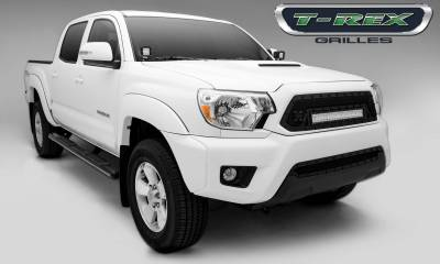 """T-REX Grilles - 2012-2015 Tacoma Stealth Torch Grille, Black, 1 Pc, Insert, Black Studs with (1) 20"""" LED - PN #6319381-BR - Image 1"""