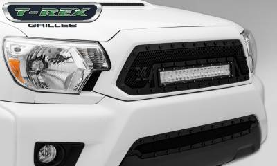 """T-REX Grilles - 2012-2015 Tacoma Stealth Torch Grille, Black, 1 Pc, Insert, Black Studs with (1) 20"""" LED - PN #6319381-BR - Image 2"""