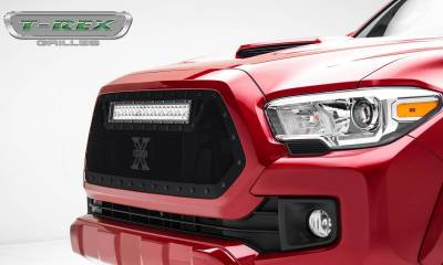 """T-REX Grilles - 2016-2017 Tacoma Stealth Torch Grille, Black, 1 Pc, Insert, Black Studs with (1) 20"""" LED - PN #6319411-BR - Image 2"""