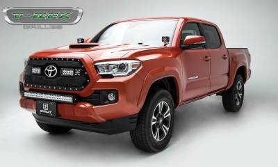 "T-REX Grilles - 2018-2021 Tacoma Torch Grille, Black, 1 Pc, Insert, Chrome Studs with (2) 6"" LEDs, Does Not Fit Vehicles with Camera - PN #6319511 - Image 2"