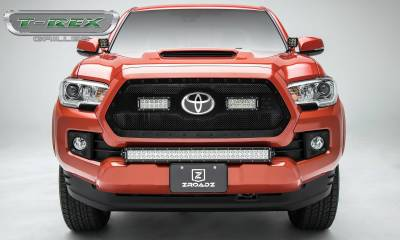 """T-REX Grilles - 2018-2021 Tacoma Stealth Torch Grille, Black, 1 Pc, Insert, Black Studs with (2) 6"""" LEDs, Does Not Fit Vehicles with Camera - PN #6319511-BR - Image 3"""