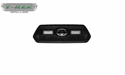 """T-REX Grilles - 2018-2021 Tacoma Stealth Torch Grille, Black, 1 Pc, Insert, Black Studs with (2) 6"""" LEDs, Does Not Fit Vehicles with Camera - PN #6319511-BR - Image 4"""