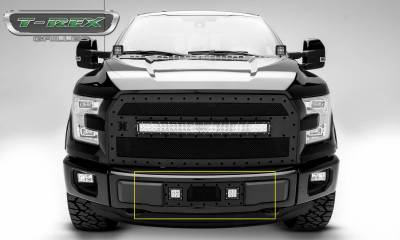 """T-REX Grilles - 2015-2017 F-150 Stealth Torch Bumper Grille, Black, 1 Pc, Insert, Black Studs with (2) 3"""" LED Cube Lights - PN #6325731-BR - Image 2"""