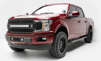 T-REX Grilles - 2018-2020 F-150 Limited, Lariat Torch Bumper Grille, Black, 1 Pc, Replacement, Chrome Studs with (2) 3 Inch LED Cube Lights - PN #6325791 - Image 1