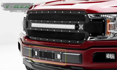T-REX Grilles - 2018-2020 F-150 Limited, Lariat Torch Bumper Grille, Black, 1 Pc, Replacement, Chrome Studs with (2) 3 Inch LED Cube Lights - PN #6325791 - Image 2