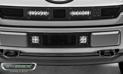 T-REX Grilles - 2018-2020 F-150 Limited, Lariat Stealth Torch Bumper Grille, Black, 1 Pc, Replacement, Black Studs with (2) 3 Inch LED Cube Lights - PN #6325791-BR - Image 3
