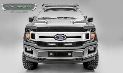 T-REX Grilles - 2018-2020 F-150 Limited, Lariat Stealth Torch Bumper Grille, Black, 1 Pc, Replacement, Black Studs with (2) 3 Inch LED Cube Lights - PN #6325791-BR - Image 4