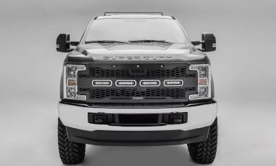 "T-REX Grilles - 2017-2019 Super Duty Revolver Grille, Black, 1 Pc, Replacement with (4) 6"" LEDs, Fits Vehicles with Camera - PN #6515631 - Image 1"