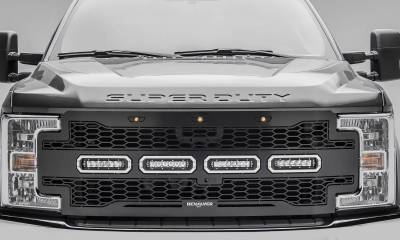 "T-REX Grilles - 2017-2019 Super Duty Revolver Grille, Black, 1 Pc, Replacement with (4) 6"" LEDs, Fits Vehicles with Camera - PN #6515631 - Image 2"