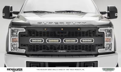 """T-REX Grilles - 2017-2019 Super Duty Revolver Grille, Black, 1 Pc, Replacement with (4) 6"""" LEDs, Does Not Fit Vehicles with Camera - PN #6515641 - Image 1"""
