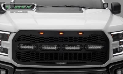 T-REX Grilles - 2017-2020 F-150 Raptor SVT Revolver Grille, Black, 1 Pc, Replacement with (4) 6 Inch LEDs, Does Not Fit Vehicles with Camera - PN #6515661 - Image 4