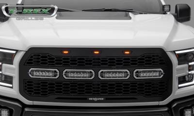 T-REX Grilles - 2017-2020 F-150 Raptor SVT Revolver Grille, Black, 1 Pc, Replacement with (4) 6 Inch LEDs, Does Not Fit Vehicles with Camera - PN #6515661 - Image 5