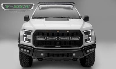T-REX Grilles - 2017-2021 F-150 Raptor SVT Revolver Grille, Black, 1 Pc, Replacement with (4) 6 Inch LEDs, Fits Vehicles with Camera - PN #6515671 - Image 1