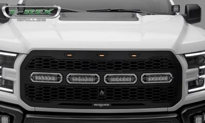 T-REX Grilles - 2017-2021 F-150 Raptor SVT Revolver Grille, Black, 1 Pc, Replacement with (4) 6 Inch LEDs, Fits Vehicles with Camera - PN #6515671 - Image 2