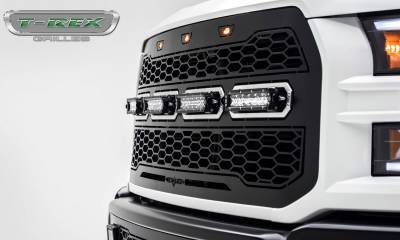 T-REX Grilles - 2017-2021 F-150 Raptor SVT Revolver Grille, Black, 1 Pc, Replacement with (4) 6 Inch LEDs, Fits Vehicles with Camera - PN #6515671 - Image 4