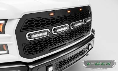 T-REX Grilles - 2017-2021 F-150 Raptor SVT Revolver Grille, Black, 1 Pc, Replacement with (4) 6 Inch LEDs, Fits Vehicles with Camera - PN #6515671 - Image 5