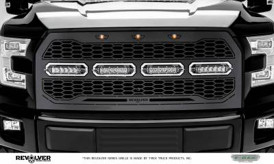 "T-REX Grilles - 2015-2017 F-150 Revolver Grille, Black, 1 Pc, Replacement, Chrome Studs with (4) 6"" LEDs, Fits Vehicles with Camera - PN #6515741 - Image 2"