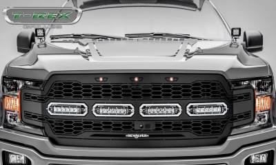T-REX Grilles - 2018-2020 F-150 Revolver Grille, Black, 1 Pc, Replacement with (4) 6 Inch LEDs, Fits Vehicles with Camera - PN #6515791 - Image 2