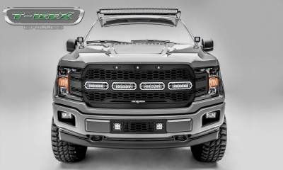 T-REX Grilles - 2018-2020 F-150 Revolver Grille, Black, 1 Pc, Replacement with (4) 6 Inch LEDs, Does Not Fit Vehicles with Camera - PN #6515841 - Image 1