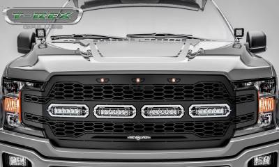 T-REX Grilles - 2018-2020 F-150 Revolver Grille, Black, 1 Pc, Replacement with (4) 6 Inch LEDs, Does Not Fit Vehicles with Camera - PN #6515841 - Image 2