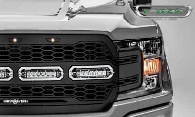T-REX Grilles - 2018-2020 F-150 Revolver Grille, Black, 1 Pc, Replacement with (4) 6 Inch LEDs, Does Not Fit Vehicles with Camera - PN #6515841 - Image 3