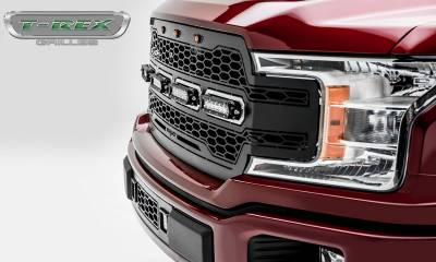 T-REX Grilles - 2018-2020 F-150 Revolver Grille, Black, 1 Pc, Replacement with (4) 6 Inch LEDs, Does Not Fit Vehicles with Camera - PN #6515841 - Image 4