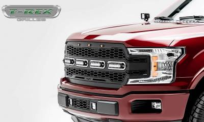 T-REX Grilles - 2018-2020 F-150 Revolver Grille, Black, 1 Pc, Replacement with (4) 6 Inch LEDs, Does Not Fit Vehicles with Camera - PN #6515841 - Image 6