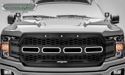 T-REX Grilles - 2018-2020 F-150 Revolver Grille, Black, 1 Pc, Replacement, Chrome Studs, Does Not Fit Vehicles with Camera - PN #6515851 - Image 2