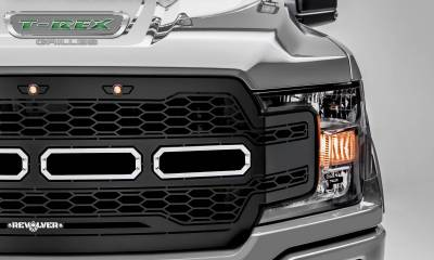 T-REX Grilles - 2018-2020 F-150 Revolver Grille, Black, 1 Pc, Replacement, Chrome Studs, Does Not Fit Vehicles with Camera - PN #6515851 - Image 3
