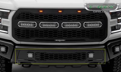 T-REX Grilles - 2017-2020 F-150 Raptor SVT Revolver Bumper Grille, Black, 1 Pc, Replacement with (2) 3 Inch LED Cube Lights - PN #6525661 - Image 1