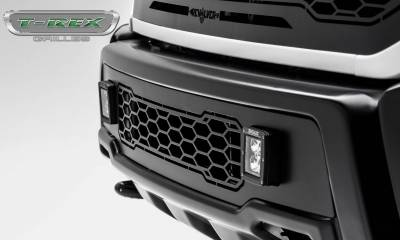T-REX Grilles - 2017-2020 F-150 Raptor SVT Revolver Bumper Grille, Black, 1 Pc, Replacement with (2) 3 Inch LED Cube Lights - PN #6525661 - Image 3