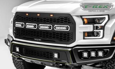 T-REX Grilles - 2017-2020 F-150 Raptor SVT Revolver Bumper Grille, Black, 1 Pc, Replacement with (2) 3 Inch LED Cube Lights - PN #6525661 - Image 4