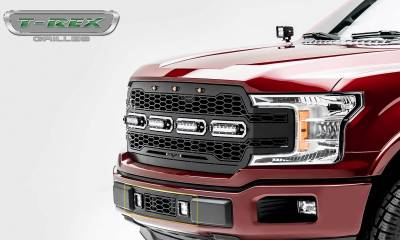 T-REX Grilles - 2018-2020 F-150 Limited, Lariat Revolver Bumper Grille, Black, 1 Pc, Overlay with (2) 3 Inch LED Cube Lights - PN #6525751 - Image 4