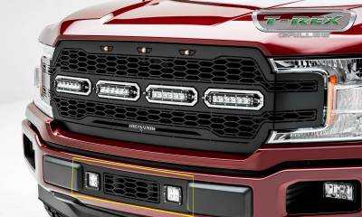 T-REX Grilles - 2018-2020 F-150 Limited, Lariat Revolver Bumper Grille, Black, 1 Pc, Overlay with (2) 3 Inch LED Cube Lights - PN #6525751 - Image 6