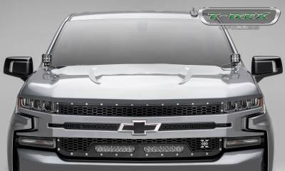 T-REX Grilles - 2019-2021 Silverado 1500 Laser Torch Grille, Black, 1 Pc, Replacement, Chrome Studs with (2) 10 Inch LEDs, Does Not Fit Vehicles with Camera - PN #7311261 - Image 6