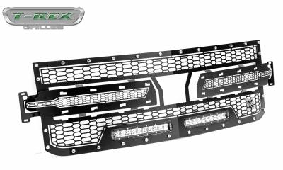 T-REX Grilles - 2019-2021 Silverado 1500 Laser Torch Grille, Black, 1 Pc, Replacement, Chrome Studs with (2) 10 Inch LEDs, Does Not Fit Vehicles with Camera - PN #7311261 - Image 8