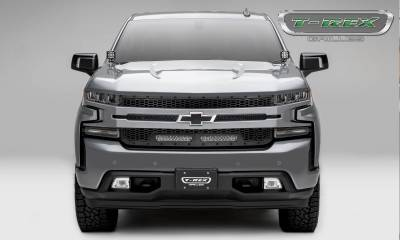 T-REX Grilles - 2019-2021 Silverado 1500 Stealth Laser Torch Grille, Black, 1 Pc, Replacement, Black Studs with (2) 10 Inch LEDs, Does Not Fit Vehicles with Camera - PN #7311261-BR - Image 3