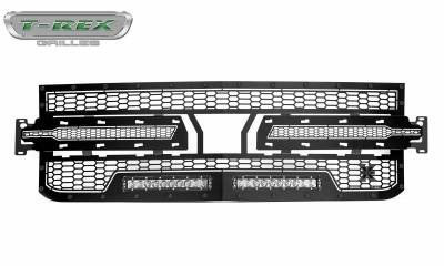 T-REX Grilles - 2019-2021 Silverado 1500 Stealth Laser Torch Grille, Black, 1 Pc, Replacement, Black Studs with (2) 10 Inch LEDs, Does Not Fit Vehicles with Camera - PN #7311261-BR - Image 4