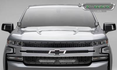 T-REX Grilles - 2019-2021 Silverado 1500 Stealth Laser Torch Grille, Black, 1 Pc, Replacement, Black Studs with (2) 10 Inch LEDs, Does Not Fit Vehicles with Camera - PN #7311261-BR - Image 7