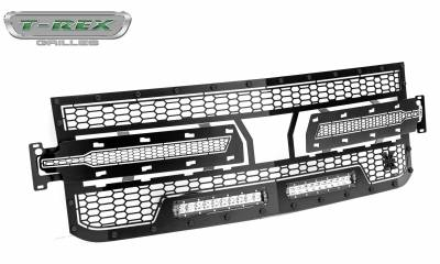 T-REX Grilles - 2019-2021 Silverado 1500 Stealth Laser Torch Grille, Black, 1 Pc, Replacement, Black Studs with (2) 10 Inch LEDs, Does Not Fit Vehicles with Camera - PN #7311261-BR - Image 8