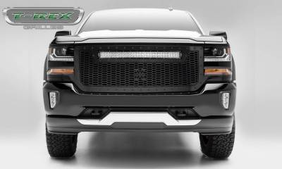 "T-REX Grilles - 2016-2018 Silverado 1500 Stealth Laser Torch Grille, Black, 1 Pc, Replacement, Black Studs with (1) 30"" LED - PN #7311281-BR"