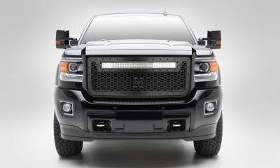 "T-REX Grilles - 2015-2019 Sierra HD Stealth Laser Torch Grille, Black, 1 Pc, Insert, Black Studs with (1) 30"" LED - PN #7312111-BR"