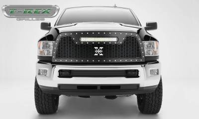 "T-REX Grilles - 2013-2018 Ram 2500, 3500 Laser Torch Grille, Black, 1 Pc, Replacement, Chrome Studs with (1) 20"" LED - PN #7314521"
