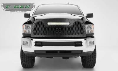 "T-REX Grilles - 2013-2018 Ram 2500, 3500 Stealth Laser Torch Grille, Black, 1 Pc, Replacement, Black Studs with (1) 20"" LED - PN #7314521-BR - Image 1"
