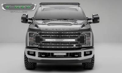 "T-REX Grilles - 2017-2019 Super Duty Laser Torch Grille, Black, 1 Pc, Replacement, Chrome Studs with (1) 30"" LED, Does Not Fit Vehicles with Camera - PN #7315471"