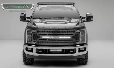 "T-REX Grilles - 2017-2019 Super Duty Stealth Laser Torch Grille, Black, 1 Pc, Replacement, Black Studs with (1) 30"" LED, Does Not Fit Vehicles with Camera - PN #7315471-BR"