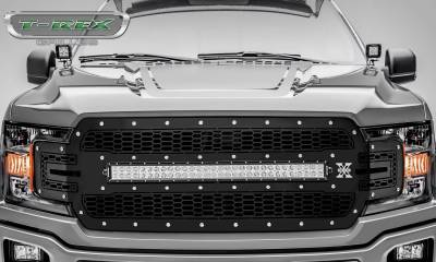 T-REX Grilles - 2018-2020 F-150 Laser Torch Grille, Black, 1 Pc, Replacement, Chrome Studs with 30 Inch LED, Does Not Fit Vehicles with Camera - PN #7315711 - Image 2