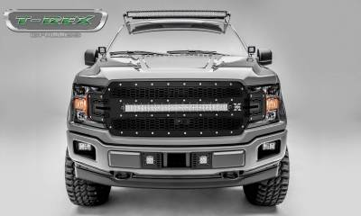 T-REX Grilles - 2018-2020 F-150 Laser Torch Grille, Black, 1 Pc, Replacement, Chrome Studs with 30 Inch LED, Fits Vehicles with Camera - PN #7315751 - Image 1