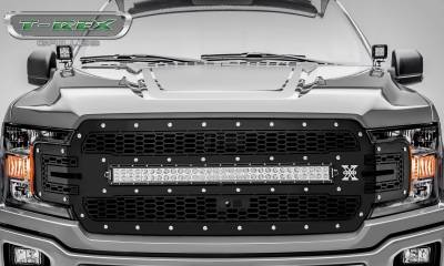 T-REX Grilles - 2018-2020 F-150 Laser Torch Grille, Black, 1 Pc, Replacement, Chrome Studs with 30 Inch LED, Fits Vehicles with Camera - PN #7315751 - Image 2